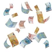 falling euro notes - stock photo
