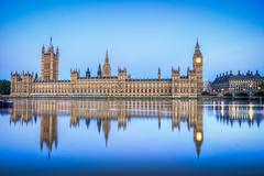 hdr image of houses of parliament - stock photo
