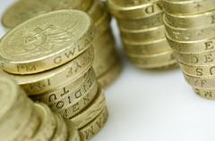 Stacks of uk pound coins Stock Photos