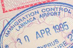 passport stamp cyprus - stock photo
