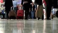 Stock Video Footage of Passengers, Luggage, Suitcases, Baggage, in Airport Terminal Gates