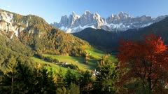 Santa Magdalena, Dolomites, Italy Stock Footage