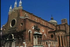 Churches of Venice, Italy, San Giovanni et Paulo, wide shot facade Stock Footage