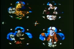Churches of Venice, Italy, San Giovanni et Paulo, interior stain glass, close up Stock Footage