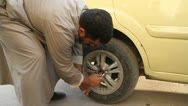 Tire repair Aleppo, Syria Stock Footage