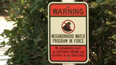 1440 Warning Neighborhood Watch Sign Treyvon Stock Footage