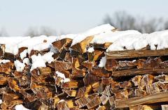 Fuel-wood in wintertime Stock Photos