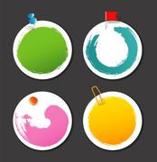 set of color stickers with splash - stock illustration