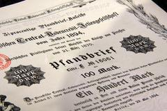 old germany share certificates - stock photo