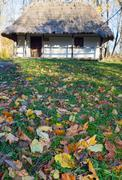 country wooden hut and autumn garden grass near - stock photo