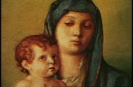 Stock Video Footage of Paintings of the Academia Museum, Venice, Italy, Madonna and Child