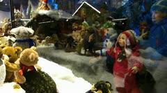 Europe German Christmas Advent Fair Market Xmas window display - stock footage