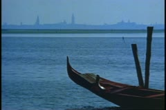 Venice, Italy, The Lagoon, Venice skyline, boat bow, no people Stock Footage
