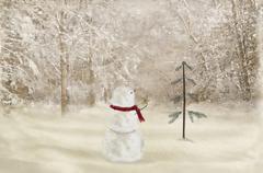 Christmas snowman Stock Illustration