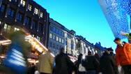 Time-Lapse Europe German Christmas Advent Fair Market Xmas Stock Footage