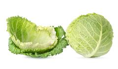 Cabbage leaves and cabbage Stock Photos