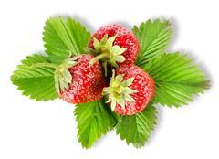 heap strawberry isolated - stock photo