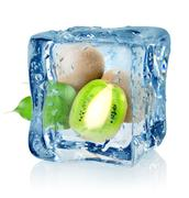 ice cube and kiwi - stock photo