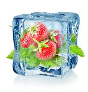 Stock Photo of ice cube and strawberry isolated