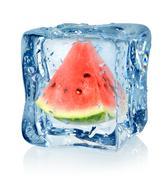 Ice cube and watermelon Stock Photos
