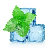 three ice cubes and mint - stock photo