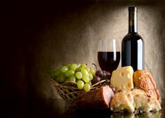 wine and food - stock photo