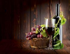 wine set on wooden background - stock photo