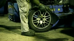 Change tyre calibrating Stock Footage
