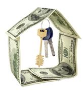dollar house isolated - stock photo