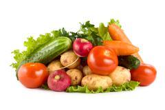 Fresh vegetables isolated on white Stock Photos