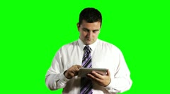 Young Businessman Tablet PC Getting Good News Greenscreen 720 Stock Footage