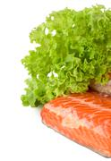 salmon and lettuce - stock photo