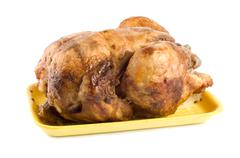 fried chicken on a plate - stock photo