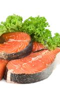 raw salmon and lettuce isolated - stock photo