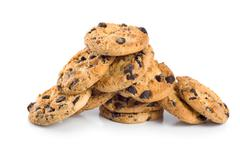 stack of chocolate chip cookies isolated - stock photo