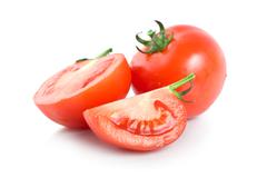 three raw red tomatoes - stock photo