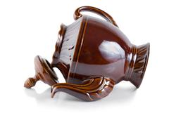 brown ceramic teapot - stock photo