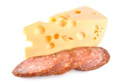 cheese and sausage isolated - stock photo