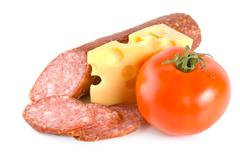 cheese, tomato and sausage - stock photo