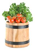 barrel with vegetables - stock photo