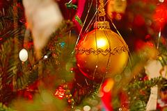 Christmas ball and glitter in tree (HD)c Stock Photos