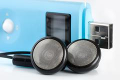 Blue mp3 player Stock Photos