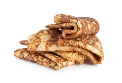 folded pancakes isolated - stock photo