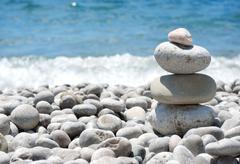 stack sea pebbles - stock photo