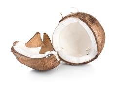 Two parts of a coconut Stock Photos