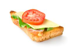 sandwich with vegetables isolated - stock photo