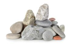 heap a stones isolated - stock photo