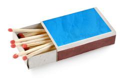 blue matchbox isolated - stock photo