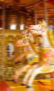 carousel  horse merry-go-round funfair - stock photo