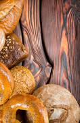 An assortment of bakery breads Stock Photos